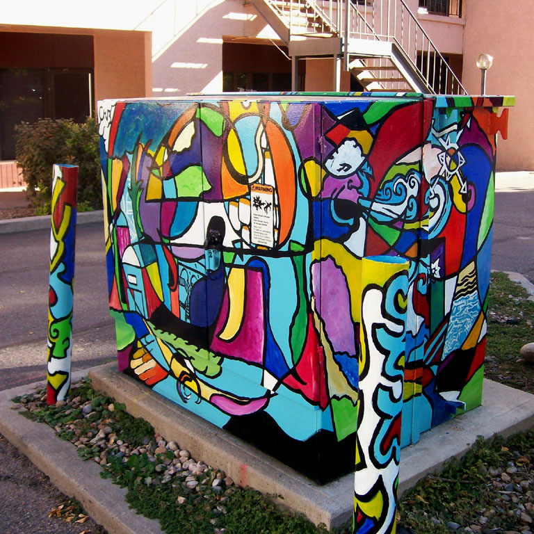 "Chris Bates, ""More Than Meets the I"", 2007, Arcylic on Metal, 6'x5'x5', Mural for the City of Fort Collins, CO, Art in Public Places."