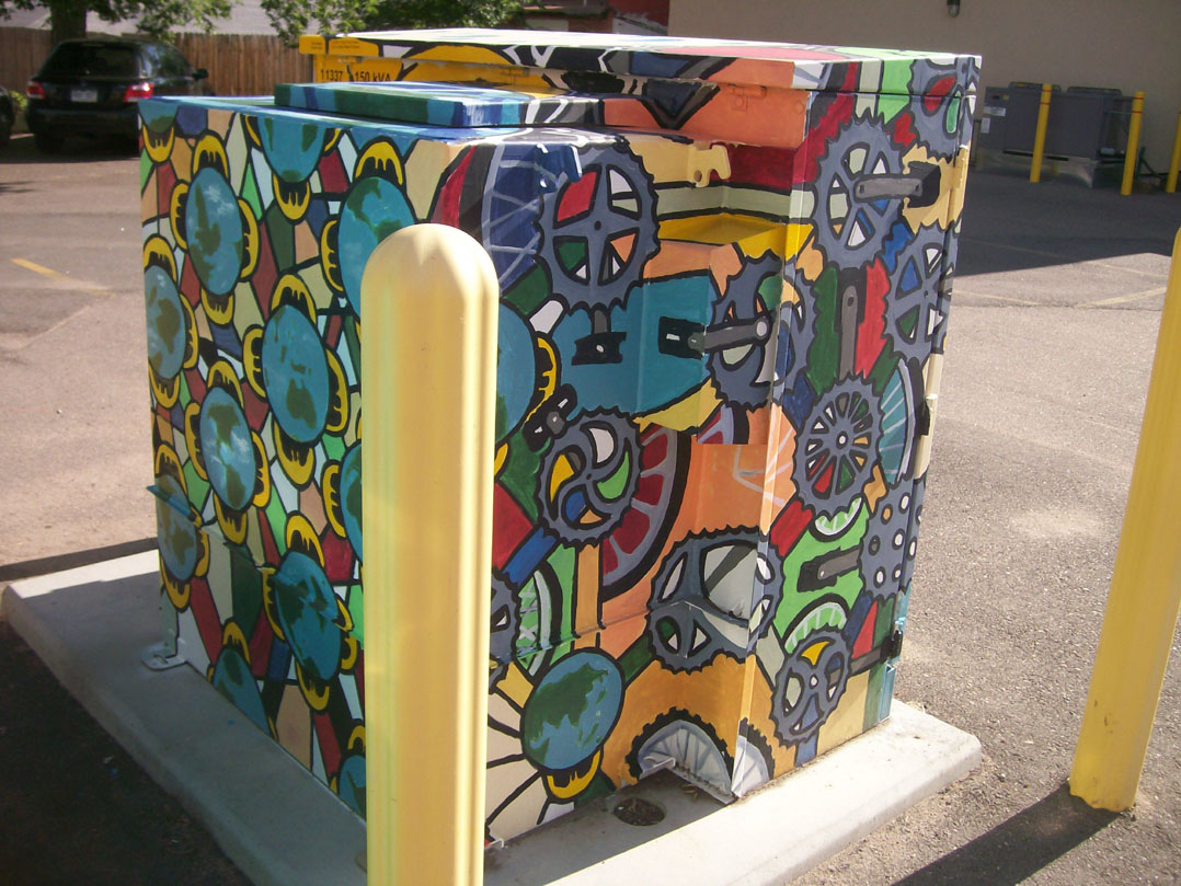 "Chris Bates, ""So Do the Days of Our Lives"", Acrylic on Metal, 2010, Mural on a Transformer Box for the City of Fort Collins, Art in Public Places."