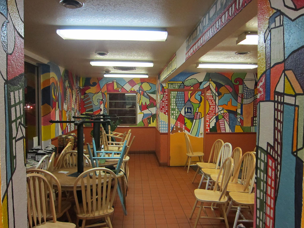 "Chris Bates, ""Big City"" 2010, Acrylic on Masonry, 10'x50', Mural in the diningroom of Big City Burrito, Fort Collins, CO"