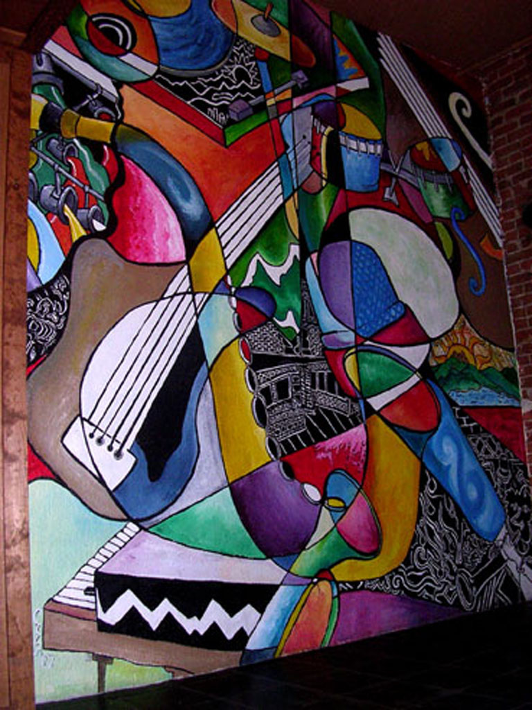 "Chris Bates, ""Half Notable"", 2007, Acrylic on Brick, 14'x16', Mural on interior of Hodi's Half Note, Fort Collins, CO."