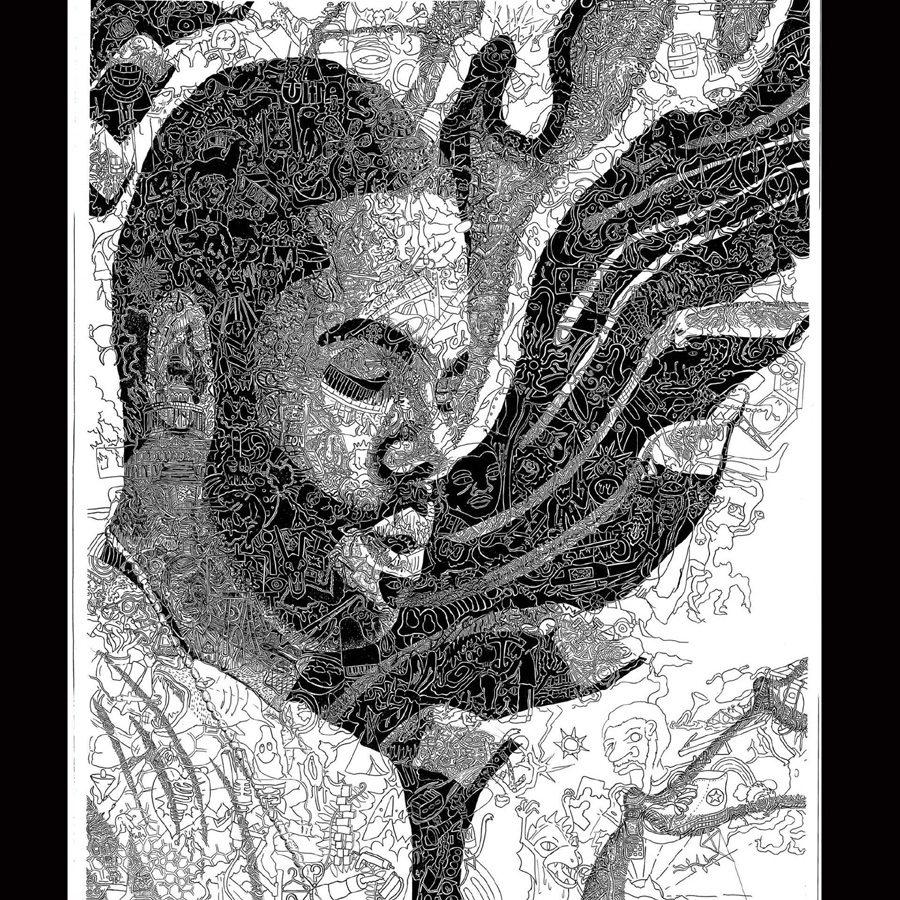 "Chris Bates, 2006, ""Keys to Success"" penan dinnk, 18""x24"", portrait of Kamal of The Roots"