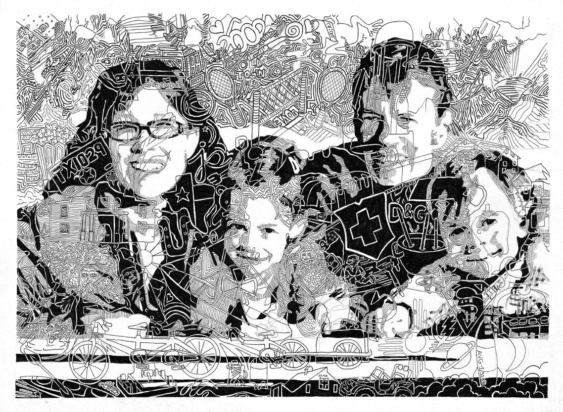"""Gesslart"" Finetoon portarit of the Gesslar Family, Chris Bates 11""x14"", 2011"