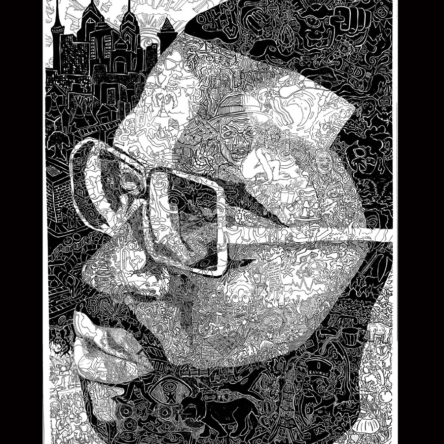 "Chris Bates, 2005, ""Let the Ink Drip"" pen and ink, 18""x24"", portrait of Black Thought of The Roots."