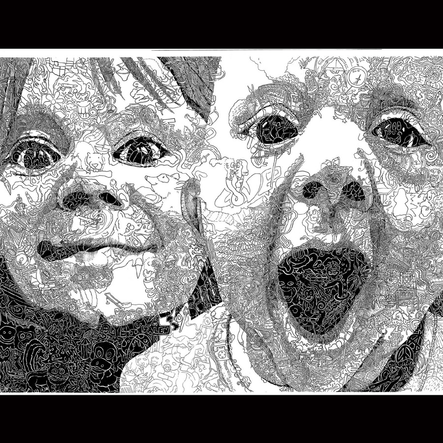 "Chris Bates, 2010, ""ADD Self Test"", pen and ink, 24""x18"", portrait of Jalen and Kai Bates (my boys!)"