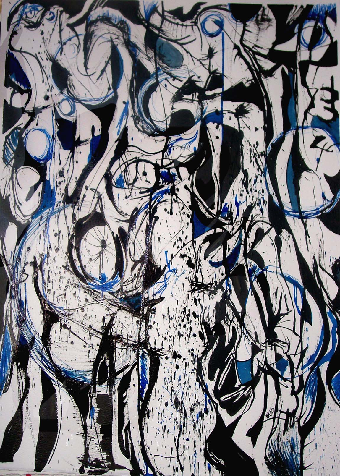 "Chris Bates & Chris Gehring Collaboration, ""Inknowledge Blue"", 2009, mixed media on paper, 18""x24""."