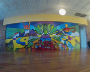 "Chris Bates, ""Yogartist"", 10'x28', mural for Old Town Yoga, Fort Collins, CO, 2011"