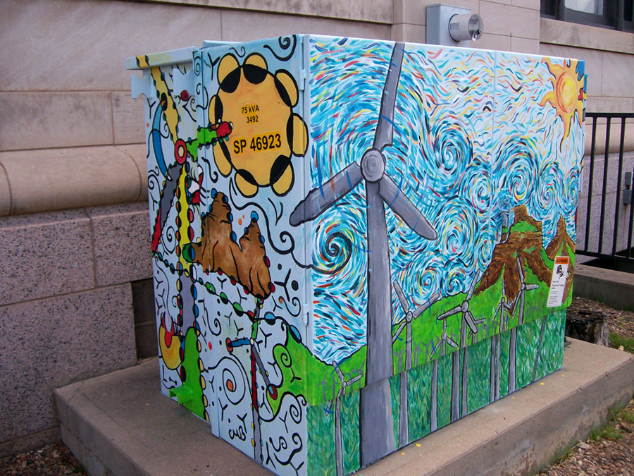 "Chris Bates, 2009, ""Butte-ifull Farm"", 5'x5'x5', Acrylic on Metal, Transformer box for City of Fort Collins Art in Public Places Program."