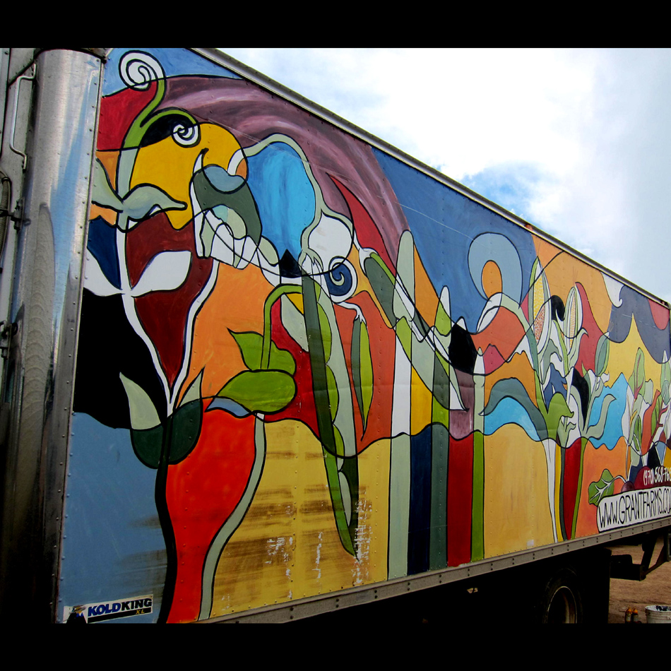 "Chris Bates, ""Take it From Granted"" 2010, Acrylic on Fiberglass, 12'x28', Mural on Grant Family Farms delivery truck, Wellington, CO"