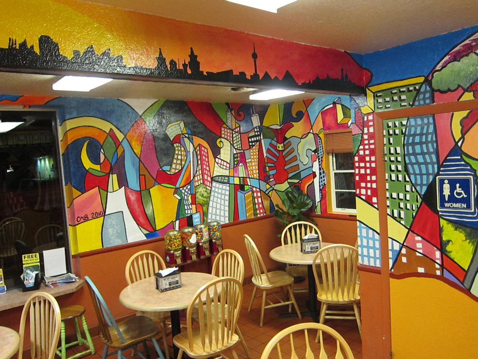 Chris Bates, 2010, Big Ol'City, Acrylic on interior wall, 10'x55', Dining Room of Big City Burrito, Fort Collins, CO