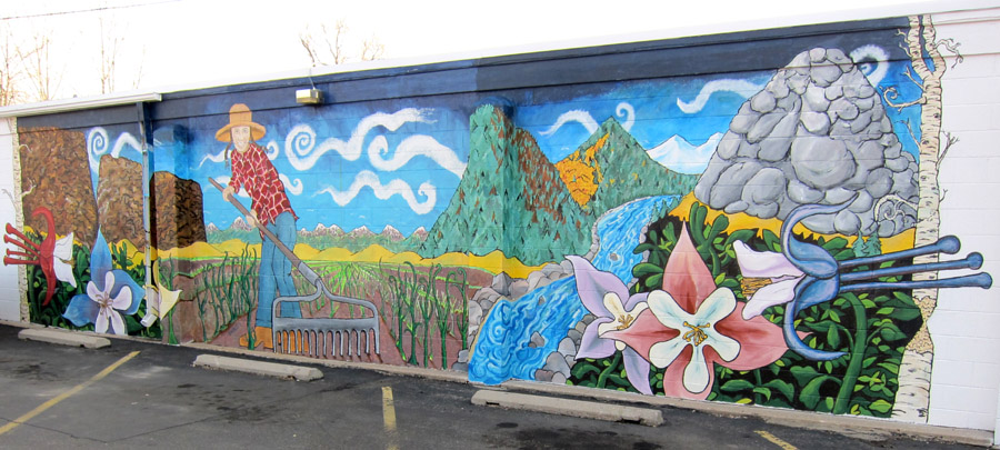"Chris Bates, ""Harvestastic phaseII"" 14'x40', mural on west side of Beaver's Market, Fort Collins, CO 2011"