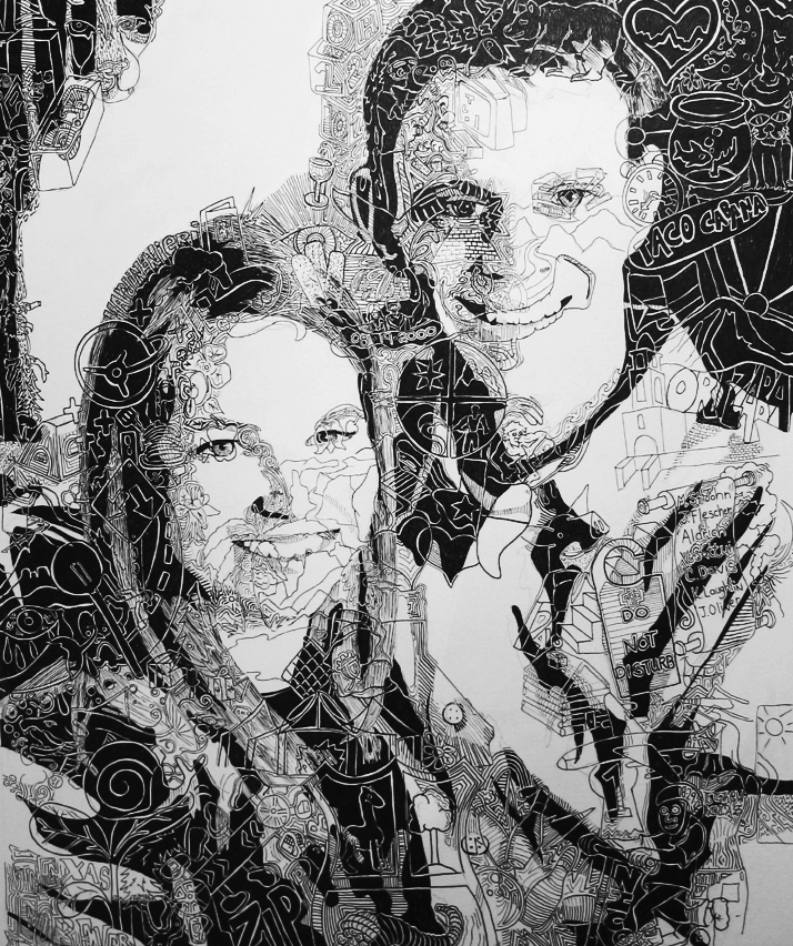 Finetoon Drawing of Scott and Becca Hardin-Nieri, 2009