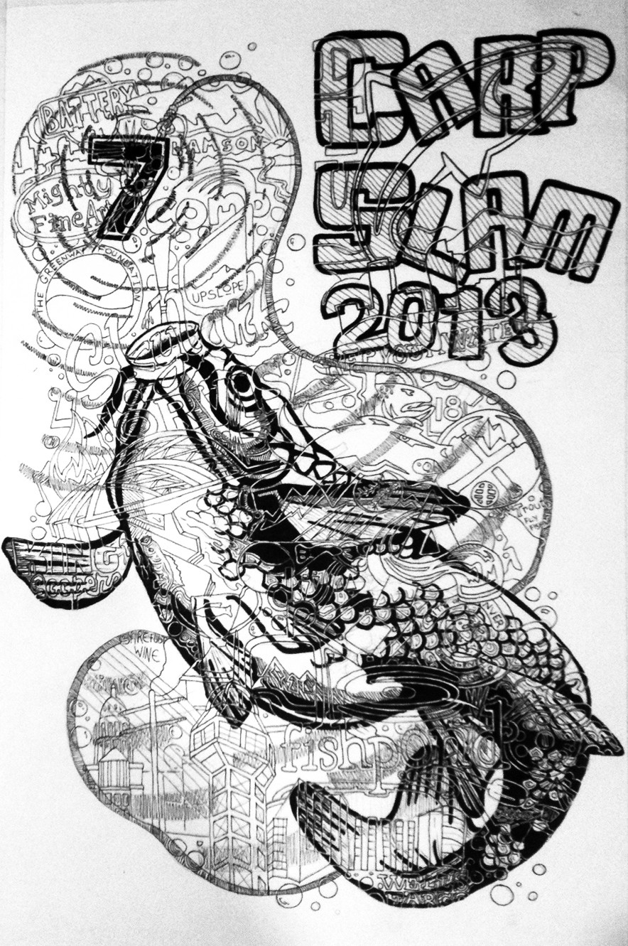 Poster and Tshirt design for Trout Unlimited's Carp Slam 7 event in 2013, Denver, Colorado